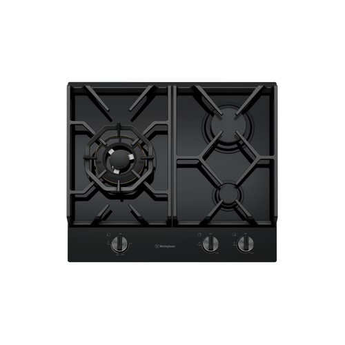 Westinghouse 60cm Black Tempered Glass 3 Burner Gas Cooktop with Wok Burner - Betta Online Only Price