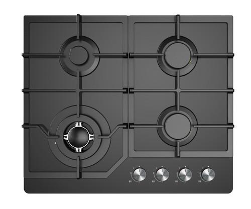 Award 60cm Black Glass 4 Burner Gas Cooktop with Wok Burner - Betta Online Only Price