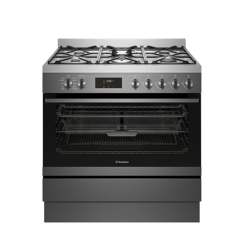 Westinghouse 90cm Dark S/Steel Dual Fuel Pyrolytic Freestanding Cooker with EasyBake +Steam and AirFry - Betta Online Only Price