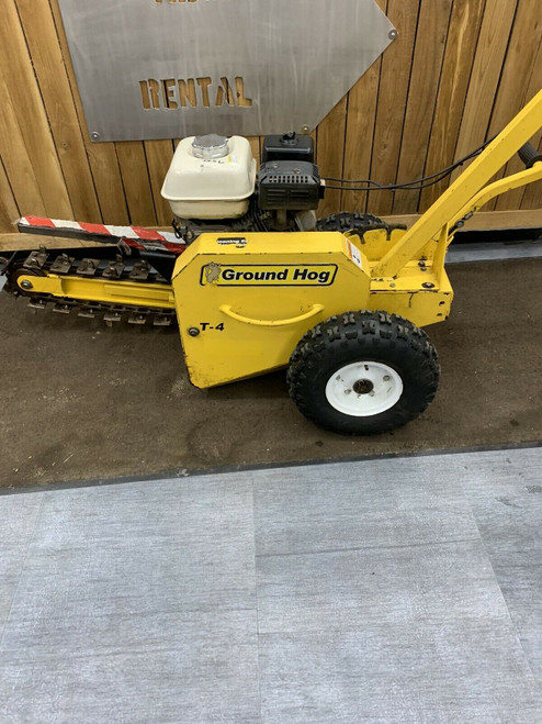 """Used Ground Hog T-4 Trencher 3""""x18"""" CHAIN-TYPE TRENCHER W/ Honda Engine Ditch"""