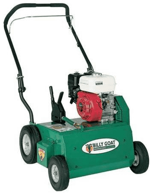 """The PR550 efficiently removes matted thatch from turf in 20"""" passes, and its rugged design withstands the most demanding use.  Because the rotation is down sweep, the flails propel the PR forward, making it self-propelled and reducing fatigue.  Additionally, because it weighs slightly more than other power rakes on the market, with steel guards, heavier wheels, premium bearings, and a 10-gauge steel engine base, the PR absorbs much of the vibration before it is transferred to the handle, which improves operator comfort and handling.  The PR comes standard with Honda or Briggs power coupled to a free swinging , heat treated, tempered flail blade reel, mounted to heavy-duty cast iron pillow block bearings with grease zerks. The PR is convertible to overseeder or vertislicer with optional accessories."""