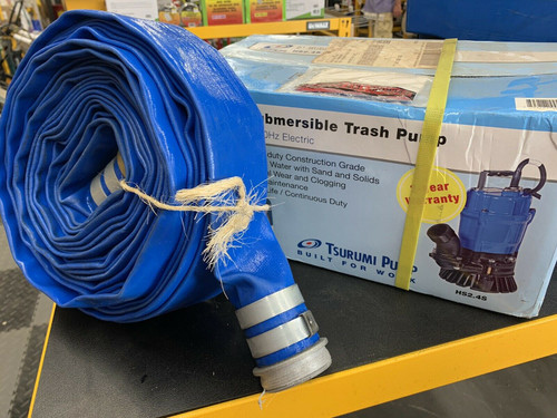 """Tsurumi HS2.4S-62 Submersible 2"""" Sump Pump W/ 2 in. x 50 ft Discharge Hose Kit"""