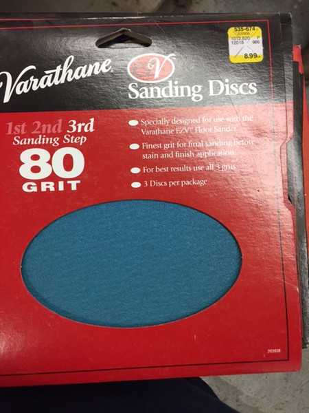 Varathane EZV Floor Sander  3 Pack 80 or 36 Grit Sanding Discs