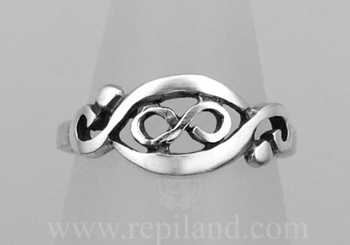 Gwenllian Ring, infinity knot enclosed within graceful curved lines.