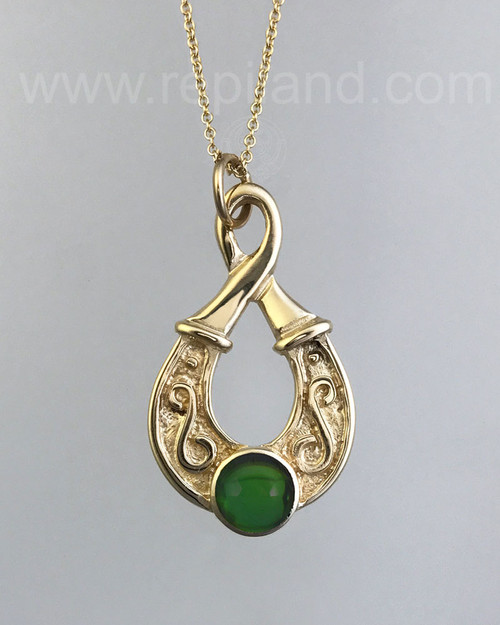 Teardrop shaped pendant with an 8mm gemstone.