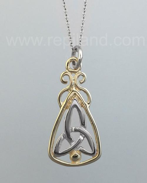 Mairsinn Pendant, trinity knot and bead in large triangular drop.