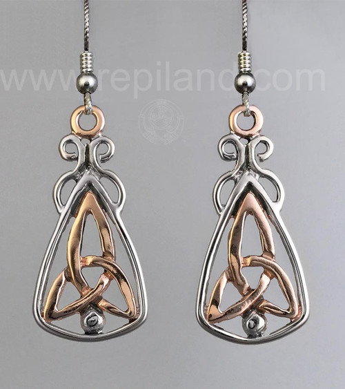 Mairsinn Earrings, trinity knot and bead in large triangular drop.