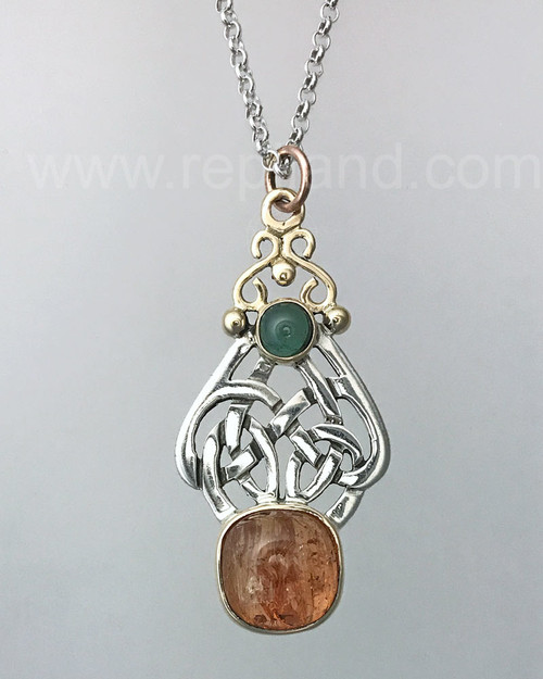 Sterling & yellow gold pendant with Precious Topaz and Green Tourmaline.