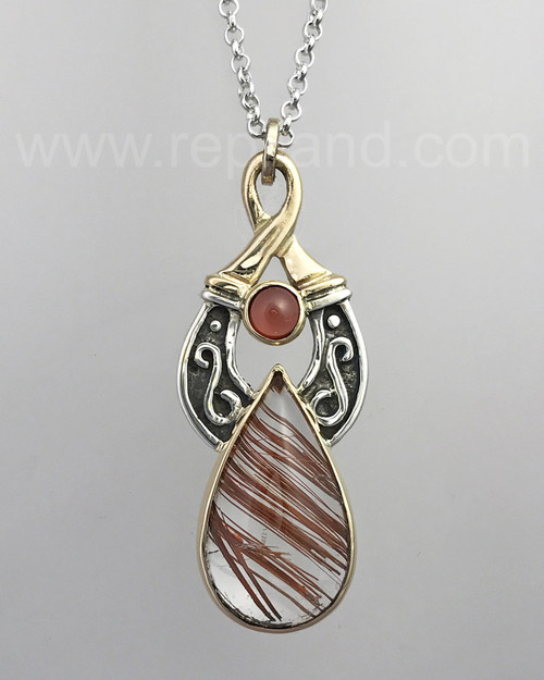 Sterling & gold pendant with 25.36ct Bronze Rutile Quartz & 6mm Garnet