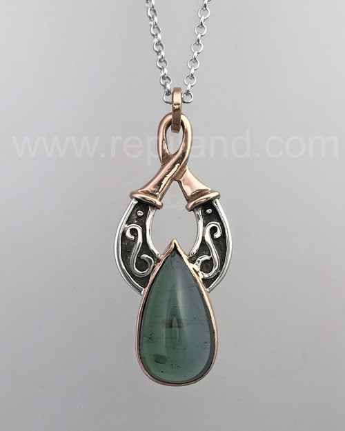 Sterling & Rose gold pendant with 20.87ct Green Tourmaline