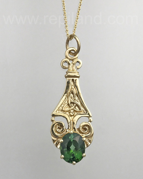 14kt yellow gold pendant with a 3.87ct Green Tourmaline.