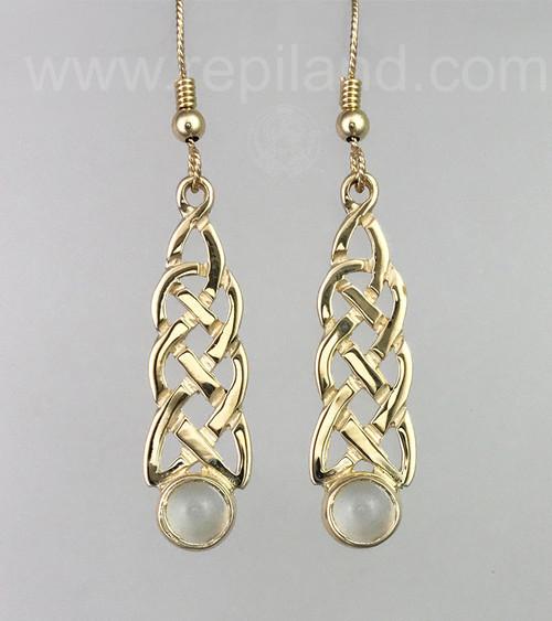 Slender knotwork drop earrings with 6mm gemstones.