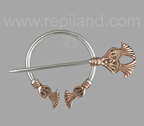 Plume thistle penannular in sterling & rose gold.