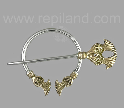 Plume thistle penannular in sterling & 14kt yellow gold.
