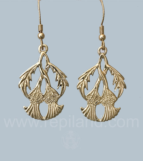 Earrings with two twined thistle blooms and arching leaves on the sides.