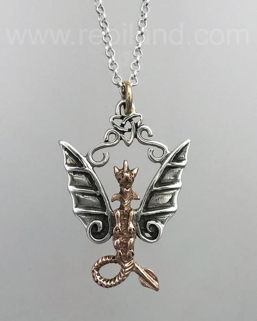 The mixed metal Fafnir Dragon Pendant, rose gold & sterling.