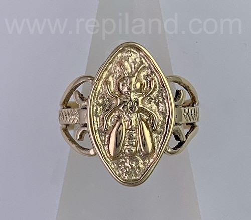 Mellifera Ring features a honey bee in an almond shape frame. Yellow gold.
