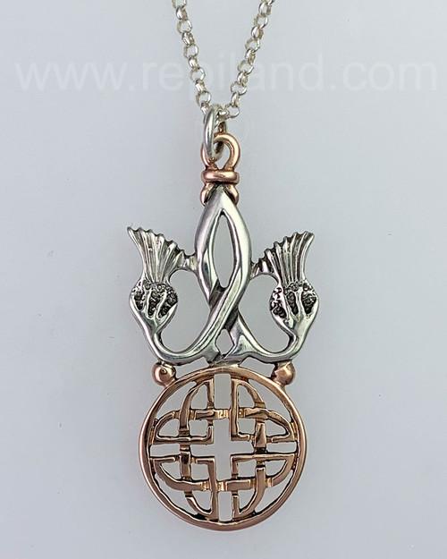 The Nanna Shield Pendant, mixed metal, rose gold.