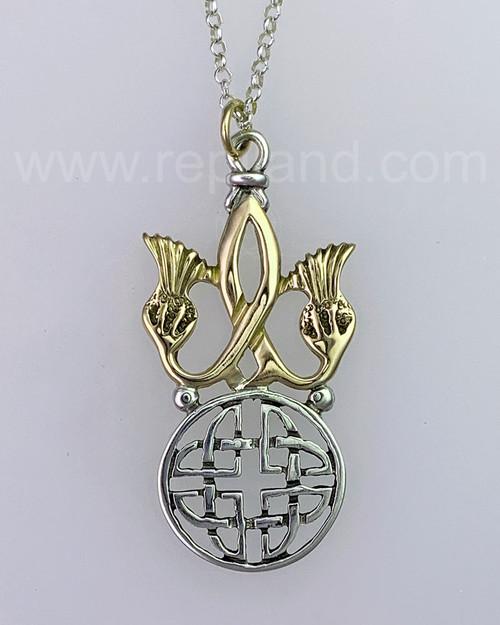The Nanna Shield Pendant, mixed metal, yellow gold.