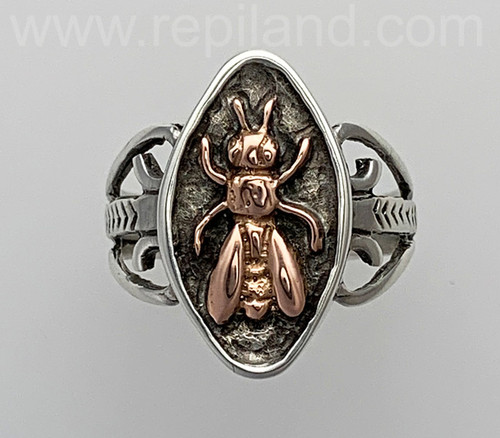 Mellifera Ring features a gold honey bee in a sterling base. Rose gold & sterling.