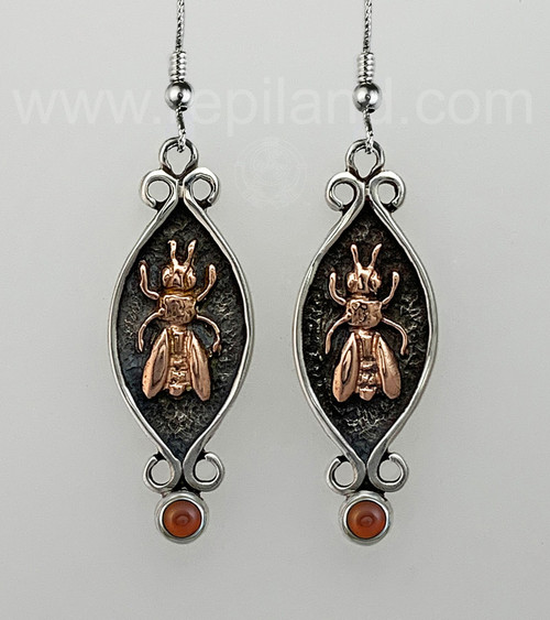 Mixed metal Mellifera Bee Earrings with 4mm gems, sterling & rose gold.