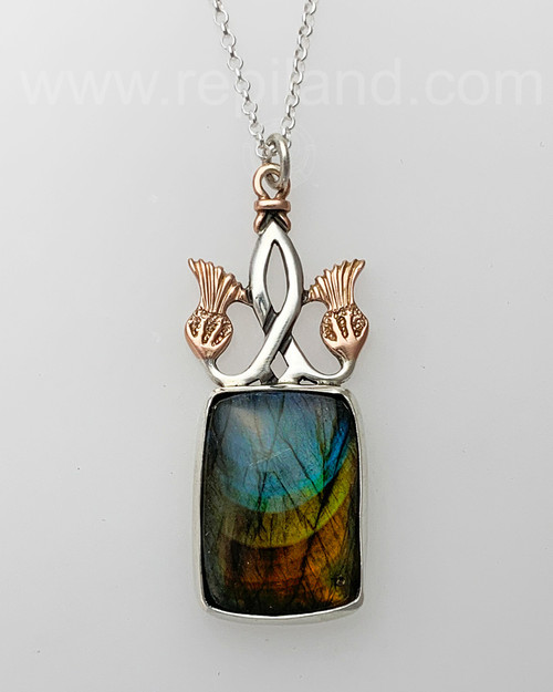 Sterling & Rose gold pendant with 40ct Labradorite.