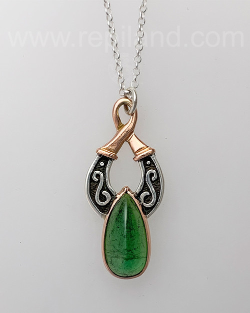 Sterling & Rose gold Canice with 16.65ct Green Tourmaline.