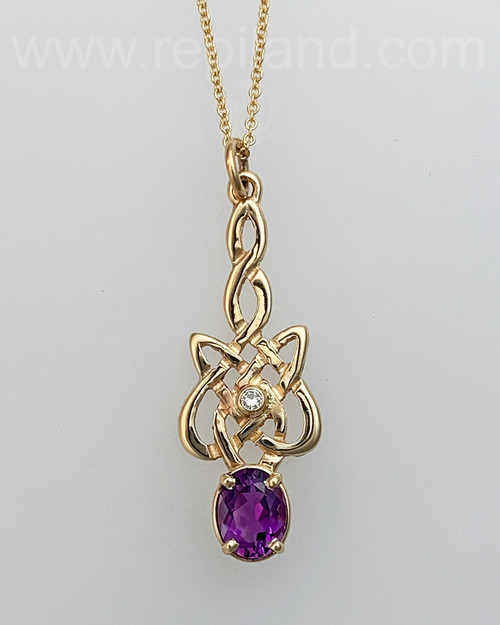 Sionnach Pendant with 1.65ct Amethyst & 5pt Diamond