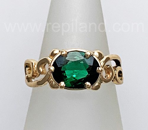14kt yellow gold Merrow Gem Ring with 1.63ct Green Tourmaline.