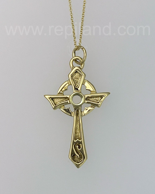 Misneach Cross with hidden hearts and carved accents, yellow gold.