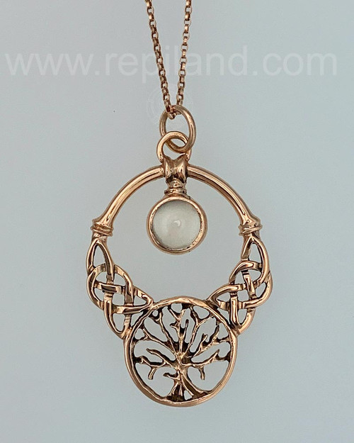 The Oak Grove Gem Pendant features knotwork, a tree and an 8mm gemstone, rose gold with Moonstone.
