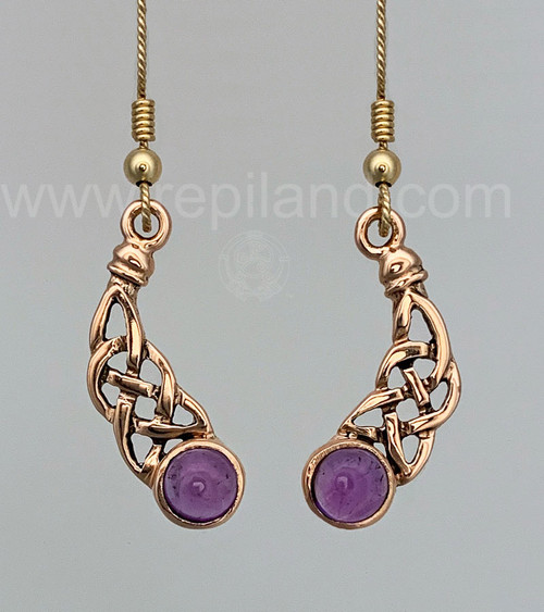 The Torness Gem Earrings have curving knotwork and 6mm gemstones, Rose gold and Amethysts.