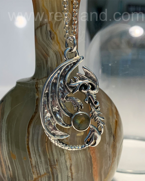Dragon Pendant with 8mm Gem.