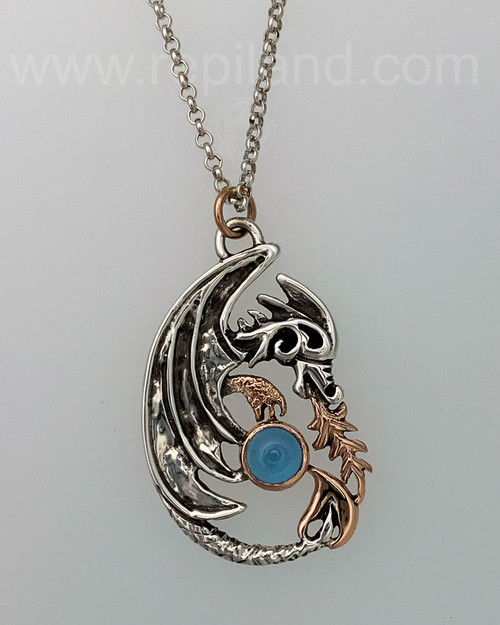 Sterling & Gold Dragon Pendant with 8mm Gem.