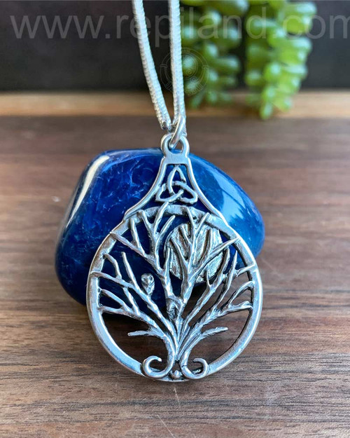 Bard Owl Tree Pendant, sterling