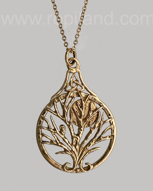 Bard Owl Tree Pendant, gold