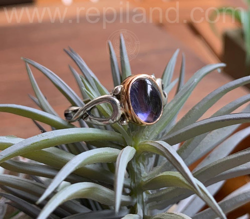 SOLD Cuirnean Ring, sterling & gold w Iolite