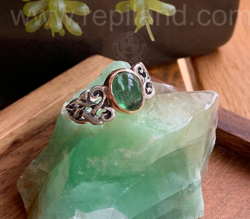 SOLD Ribbon Knot Ring, sterling & gold w Green Tourmaline