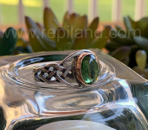 Sterling & Rose Gold Ring with 8x10mm Green Tourmaline