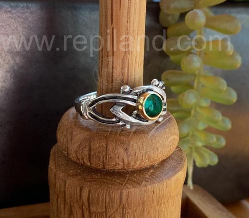Dain Knot Ring, sterling & gold w Green Tourmaline
