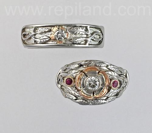 Tudor Rose Engagement Ring w jacket and Matching Band