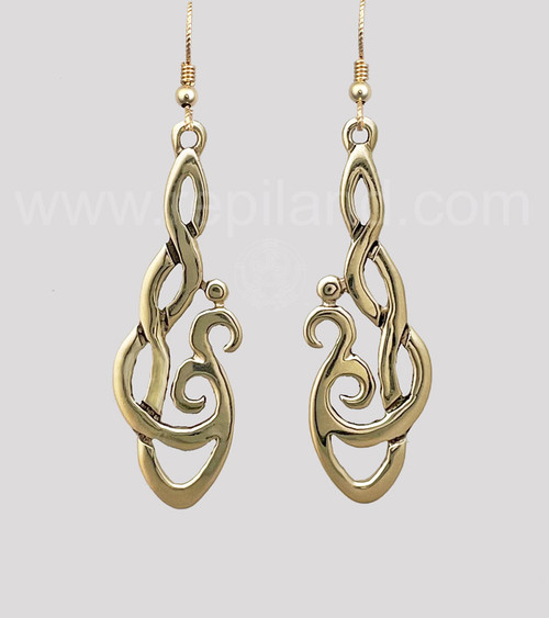 Hafgan Earrings, curving hook knotwork, yellow gold