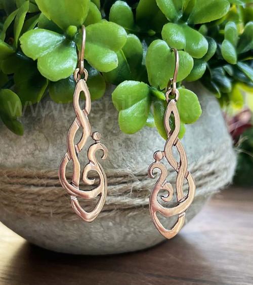 Hafgan Earrings, curving hook knotwork, rose gold