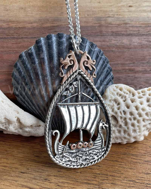 Dreki Pendant, Viking Longship, sterling & rose gold