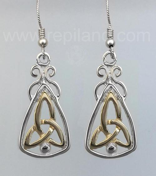 Sterling Silver 5//8 Celtic Trinity Knot Drop Dangle Earrings Bead