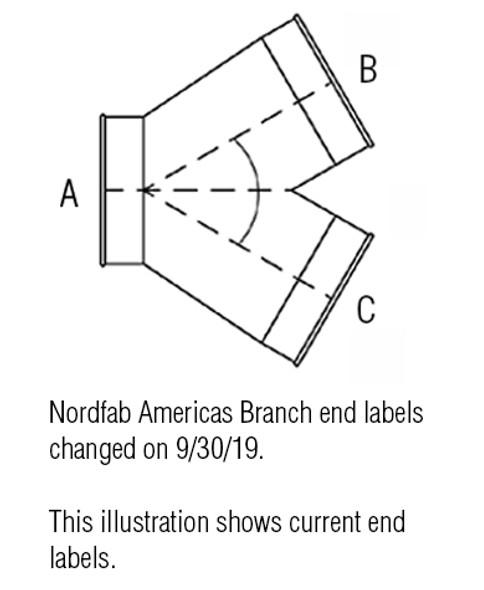 Branch Y Galv 22ga 5 QF 4 QF 3 QF 60Deg L= 9.00