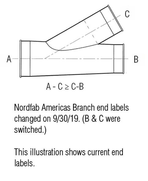 Branch Std Galv 22ga 3 QF 3 QF 3 QF 45Deg L= 15.00