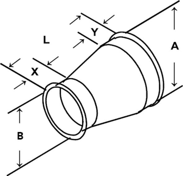 Reducer Galv 22ga 6 QF 3 QF Tan A 2.00 Tan B 2.00 L= 9.00