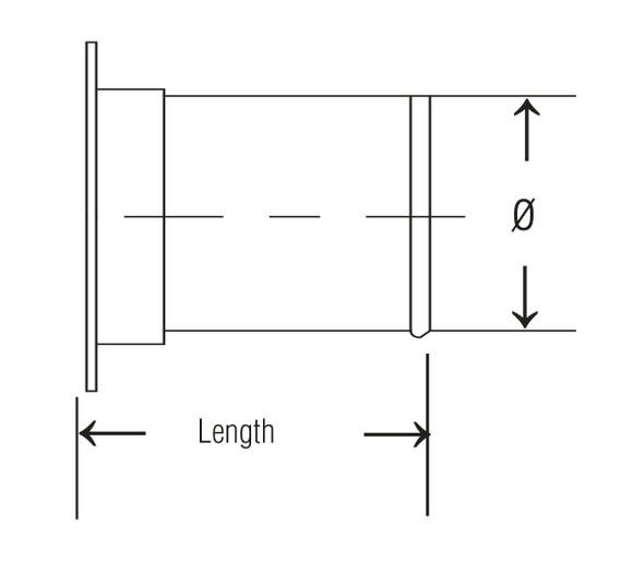 Adapter Angle Flange Galv 22ga 8 QF L= 3.50
