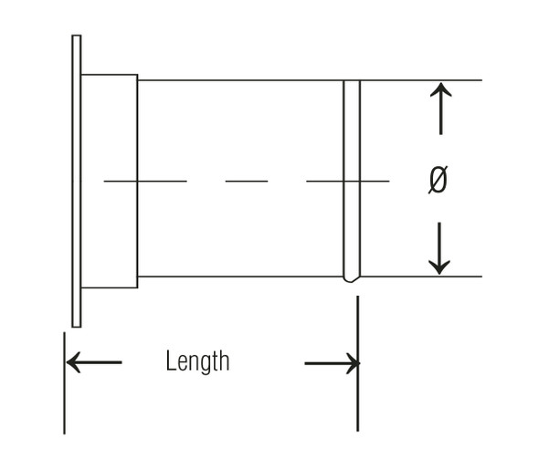 Adapter Angle Flange 304SS 22ga 4 QF L= 3.50